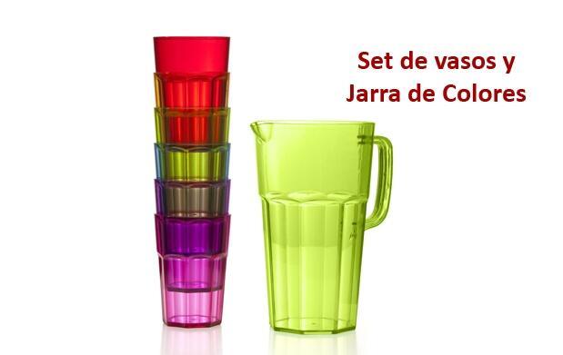 Set de vasos y jarra de colores por 12,99