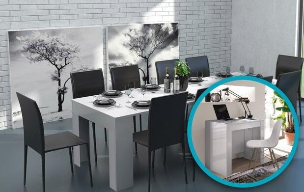 Consola y mesa-comedor en un único mueble